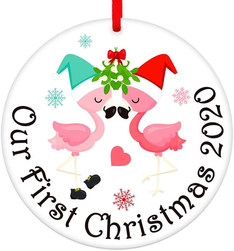 """SICOHOME Our First Christmas Ornament 2020, 3"""" 1st Christmas Together Ornament,1st Holiday Xmas Tree Ornament for Newly Weds Wedding Couple Gifts"""