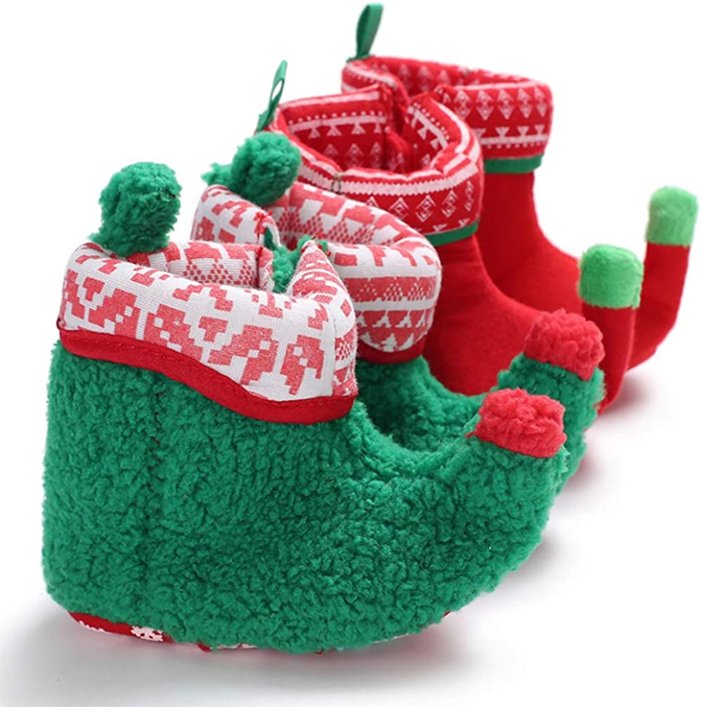 FENICAL Baby Christmas elf Fleece Slipper Booties Shoes Infant Newborn Toddler Winter Warm Slipper Boots elf Costume Accessories for Baby Girl or Boy Red 11cm