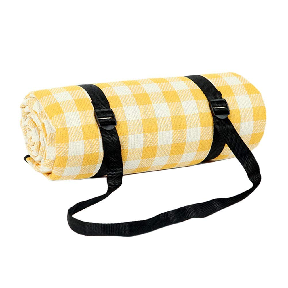 Picnic Blanket Extra Large Waterproof, Outdoor Sandproof Beach Blanket, Tent Carpet, Hiking Travel Tent BBQ Mat, 200x200cm (Color : Yellow Plaid)