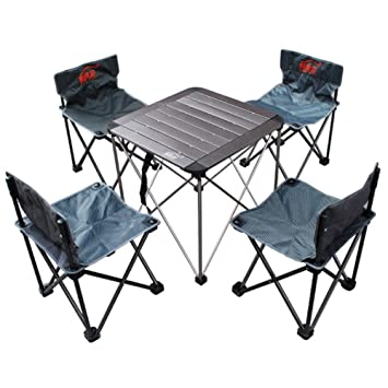 Hukoer - Juego de mesa y sillas portátiles de aluminio para acampada ...