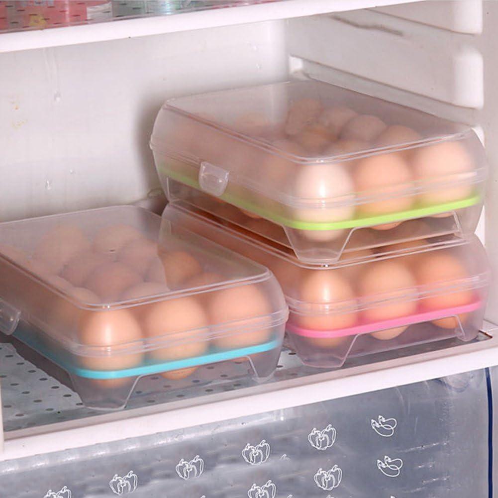 bianco 15 Grid Holder vassoio di stoccaggio frigorifero uova scatola contenitore contenitore Taglia libera Verde