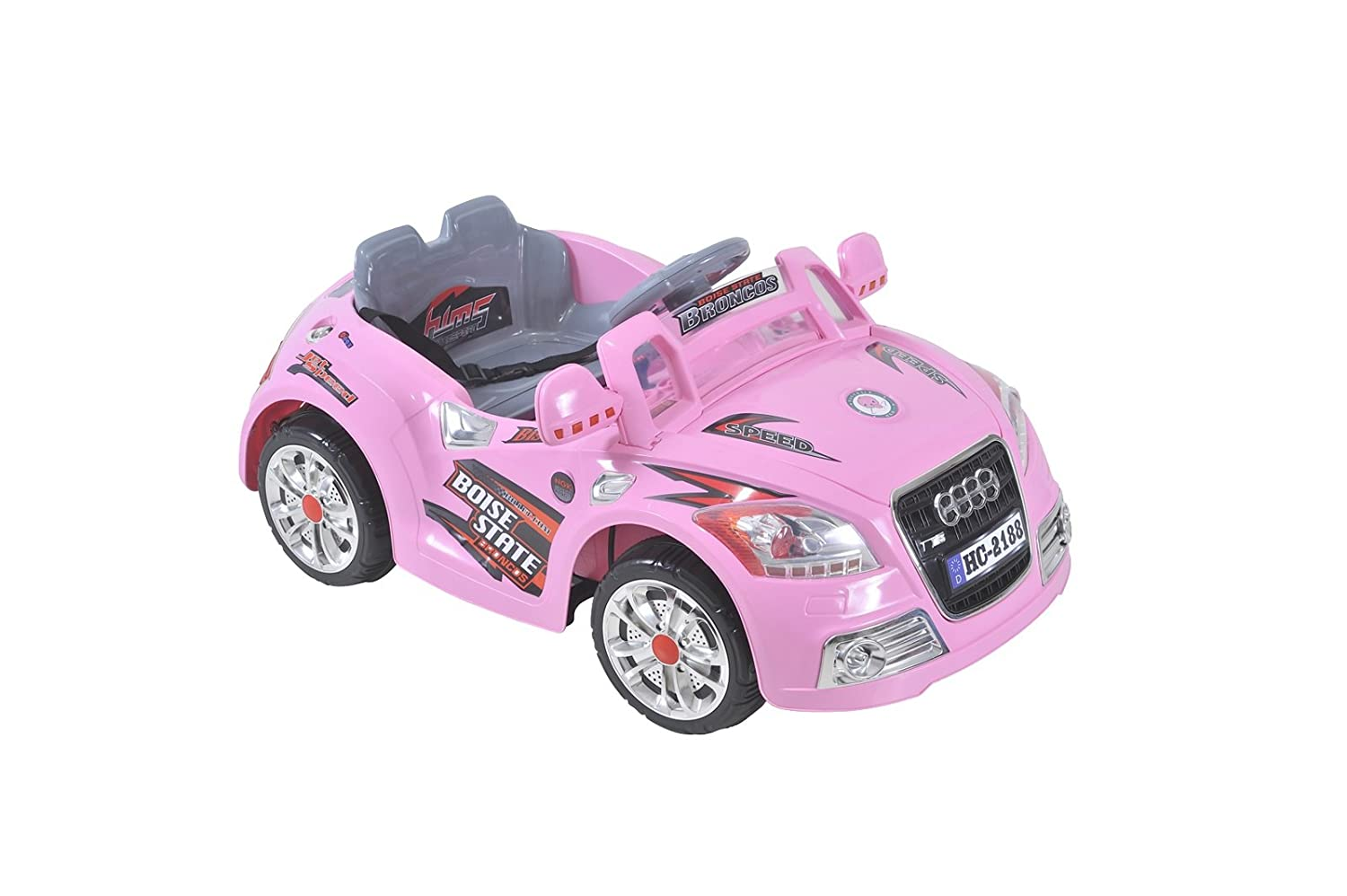 rechargeable kids ride on audi style pink girl car with parental remote controlmp3 audio input amazoncouk toys games