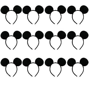 Amycute 12 pcs Diademas de Raton Orejas de Mickey Mouse ...