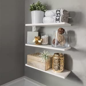 White Wall Mounted Floating Shelf,Set of 3 Wood Home Decoration Display Modern Floating Wall Hanging Shelves with Invisible Brackets for Living Room Office Bedroom Bathroom Kitchen,16.5'' Length