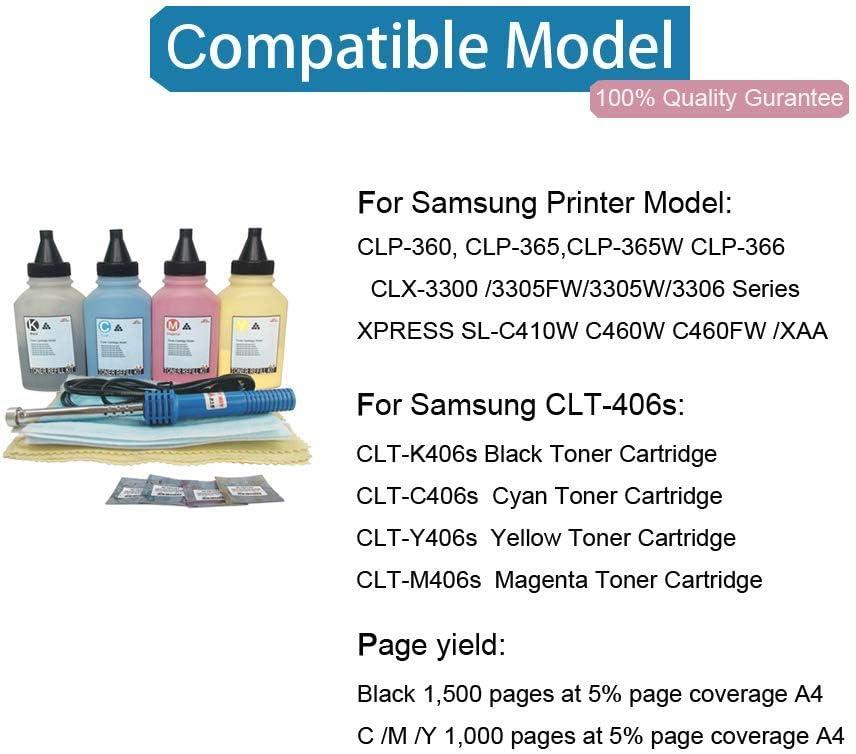 4x Refill Chip für Samsung CLX-3305-FW CLX-3305-W CLP-365-W Xpress C-460-W