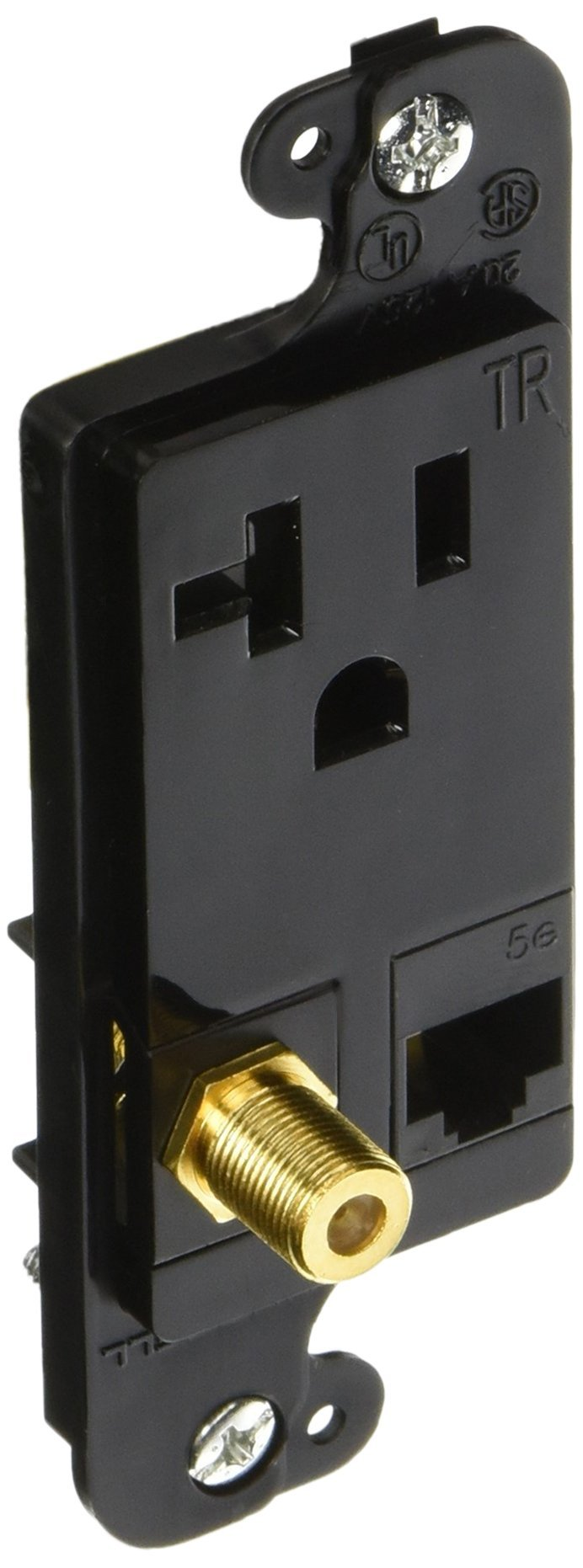 Jload Multimedia Outlet; Decorator Frame with Voltage Divider, One (1) Cat. 5E, One (1) F-Connector & One (1) Tamper Resistant Receptacle 20 Amp 125V, Nema 5-20R, Black