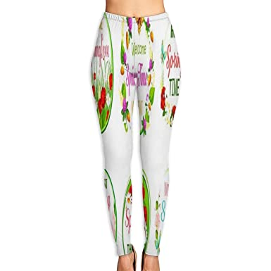 87ee003683 Amazon.com: Bei Tang Womens Yoga Pants Spring Time Love Slim Fit Leggings  Workout Trousers: Clothing