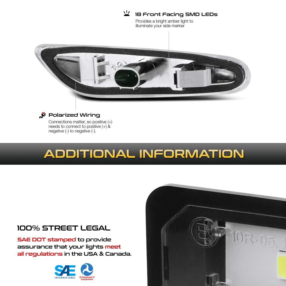 VIPMOTOZ Chrome Full LED Strip Side Marker Light Front Fender Turn Signal Lamp Assembly Replacement Pair For BMW E82 E88 E90 E91 E92 E93 E60 E61 E83 Driver /& Passenger Side