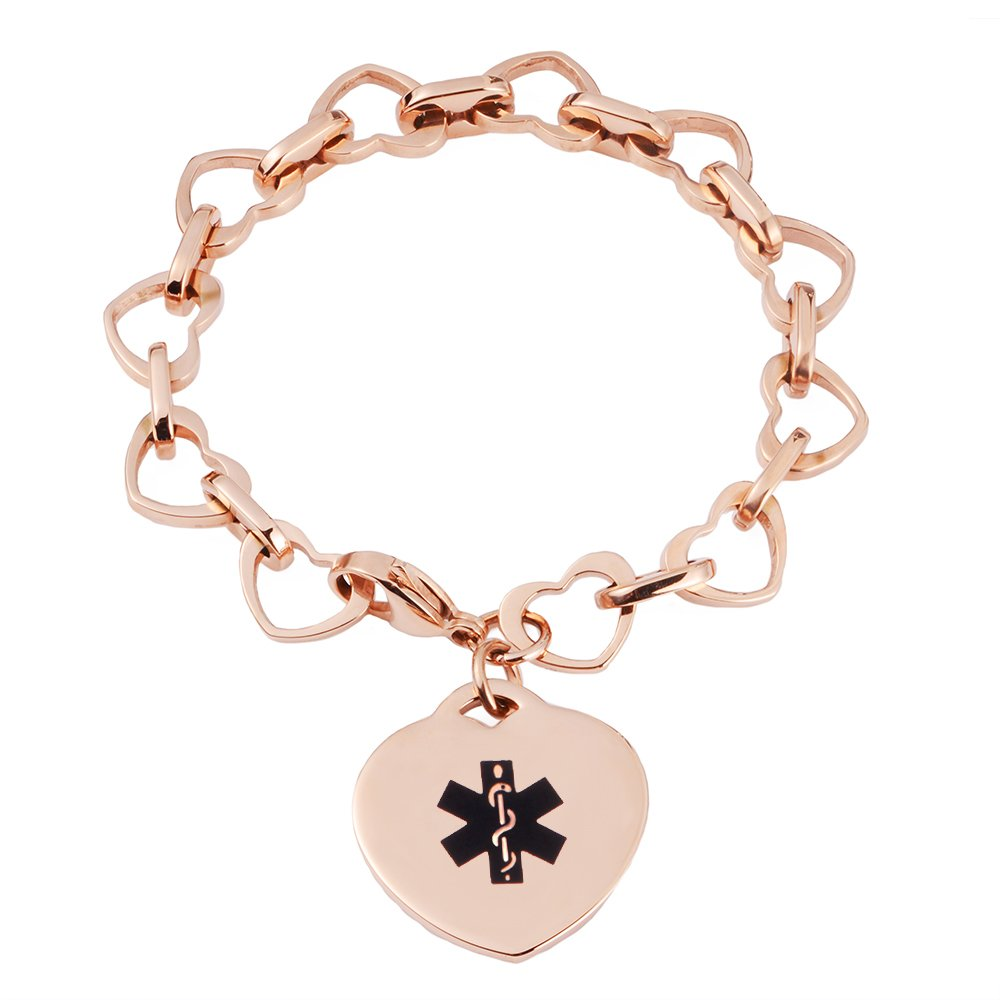 LinnaLove Heart to Heart Medical id bracelet for Women and Girls with Free engraving(ROSE GOLD)