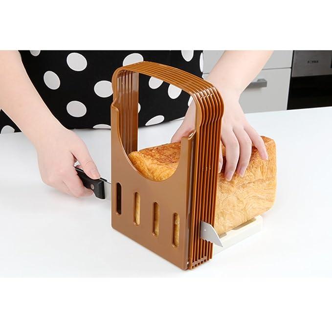 UBLISS Pan Máquina de Cortar Plegable y Ajustable Para el Pan de la Tostada del Bollo de la Máquina de Cortar del Cortador: Amazon.es: Hogar