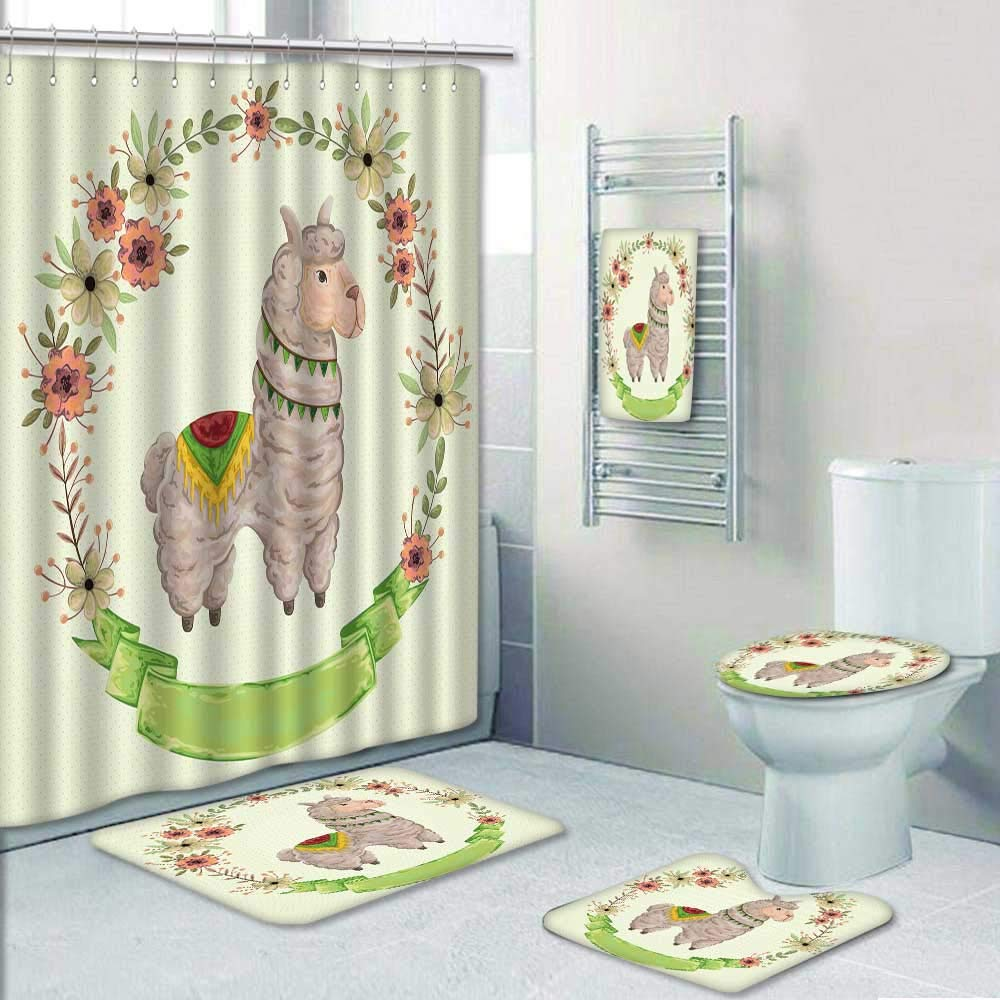 Philip-home 5 Piece Banded Shower Curtain Set Lama Animal with Floral Wreath in Watercolor Style Concept Design for greetingcard p y Vintage Decorate The Bath