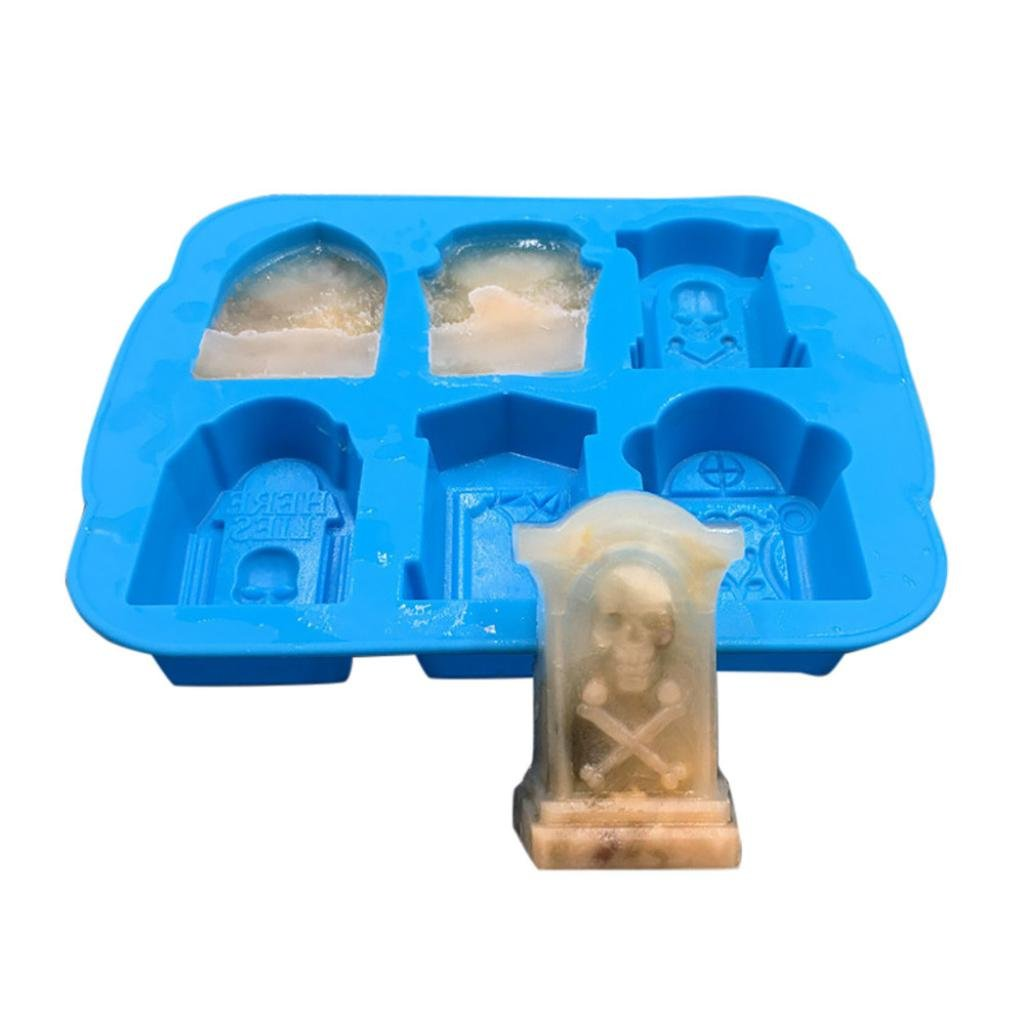 FreshZone Ice Mould, Creativity 3D Tombstone Ice Cube Mold Wine Ice Cube Tray Maker Ice Tray (Blue)