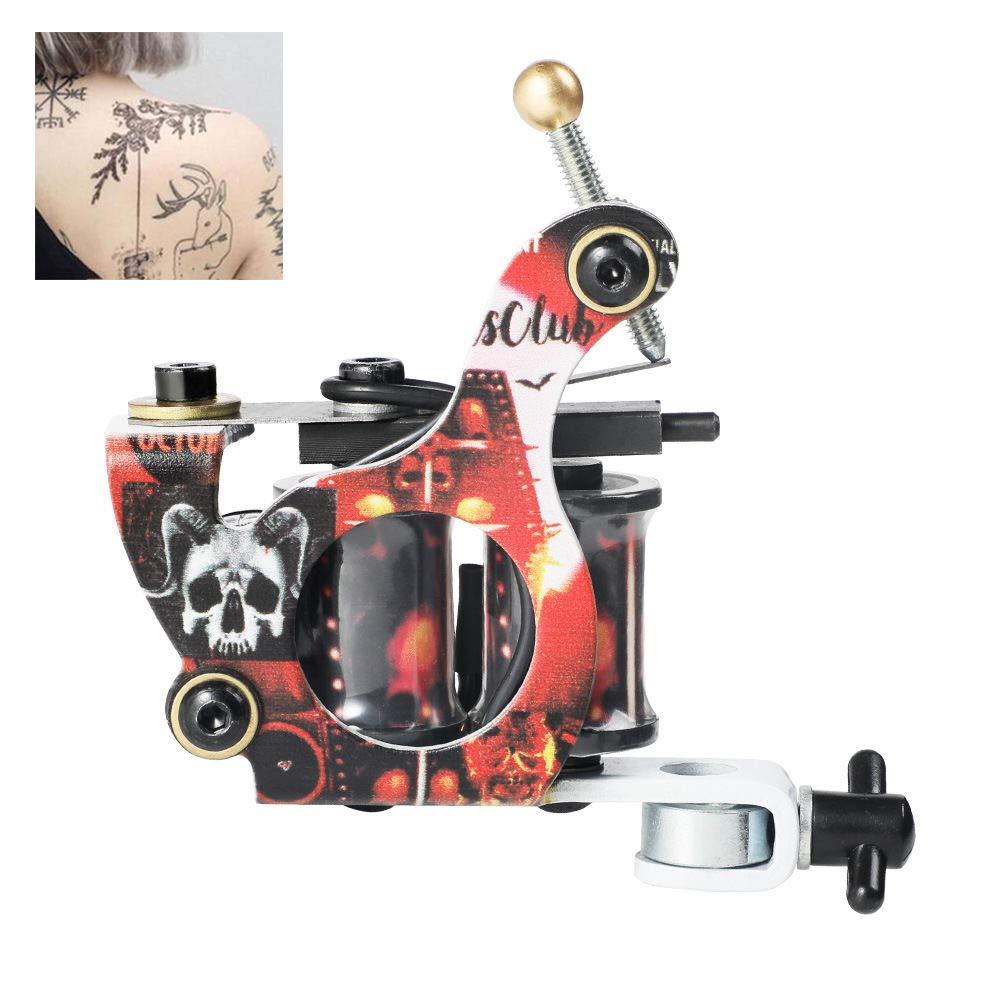 1 Tattoo Machine,Tattoo Machine 10 Wraps Coil Professional Tattoo Gun Machine for Liner & Shader Tattoos Instrument Tattooing Device