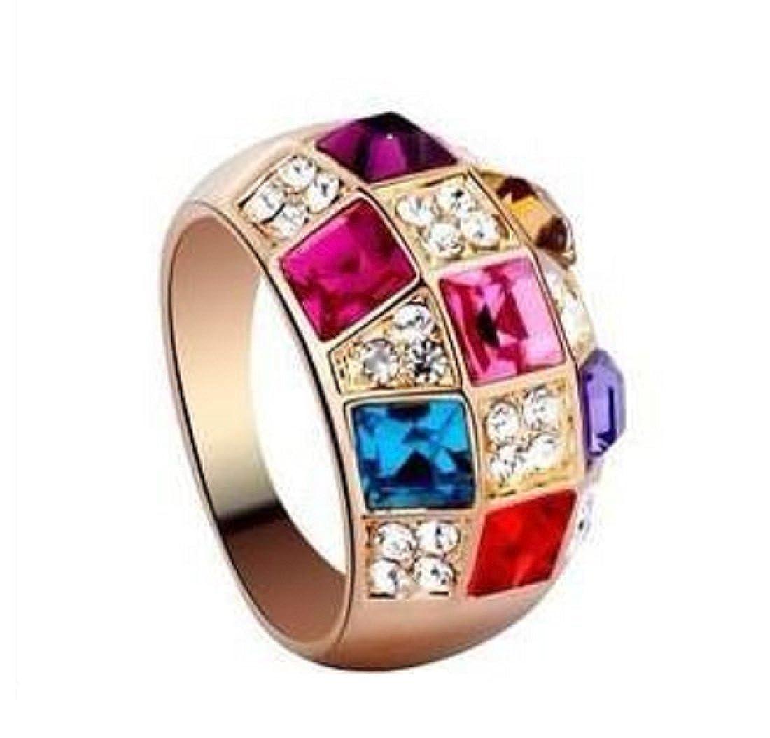 Zenex Fashions Crystal Rhinestone Gemstone Multi-color Red Purple Blue Yellow Christmas Sparkly Glittery Big Stone Statement Ring