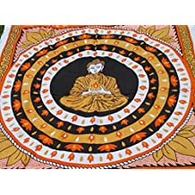 Buddha Thousands of Candles Quote Inspirational Wall Hanging Cotton Bedsheet (140 cm X 210 cm ) Indian Tapestry Indian Buddha Hippie Bohemian Tapestry Throw Wall Hanging Bedspread Ethnic art RoomyDeal