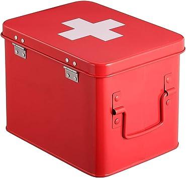 Botiquín De Primeros Auxilios, Cofre Rojo para El Hogar, Lata De Medicina con Doble Capa Y 4 Compartimentos, Caja De Almacenamiento De Metal (Size : 22.5x15.5x16cm): Amazon.es: Deportes y aire libre
