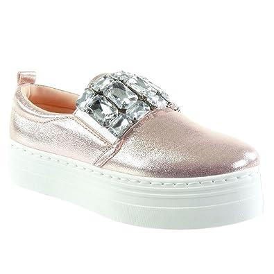 Angkorly Damen Schuhe Sneaker - Plateauschuhe - Schmuck - Strass - Glänzende Flache Ferse 4 cm - Schwarz HX-005 T 36 5khyhMal