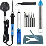 Soldering Iron Set, Zacro 60W 230V Soldering Iron Kits - with 5pcs Different Tips, Desoldering Pump, Stand, Anti-static Tweezers and Additional Solder Tube - Adjustable Temperature