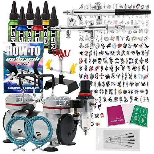 PointZero Complete Temporary Tattoo Airbrush Set - 2 Airbrushes with Compressor and 200 Stencils by PointZero Airbrush