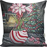 Premium Decorative Cushion Throw Pillow Hypoallergenic Stuffer Silicone Filling (17'' x 17'') | Christmas Tree House Tree New Year Gift Ornamental Fireplace Home 50% Cotton 50% Polyester Full with Silic