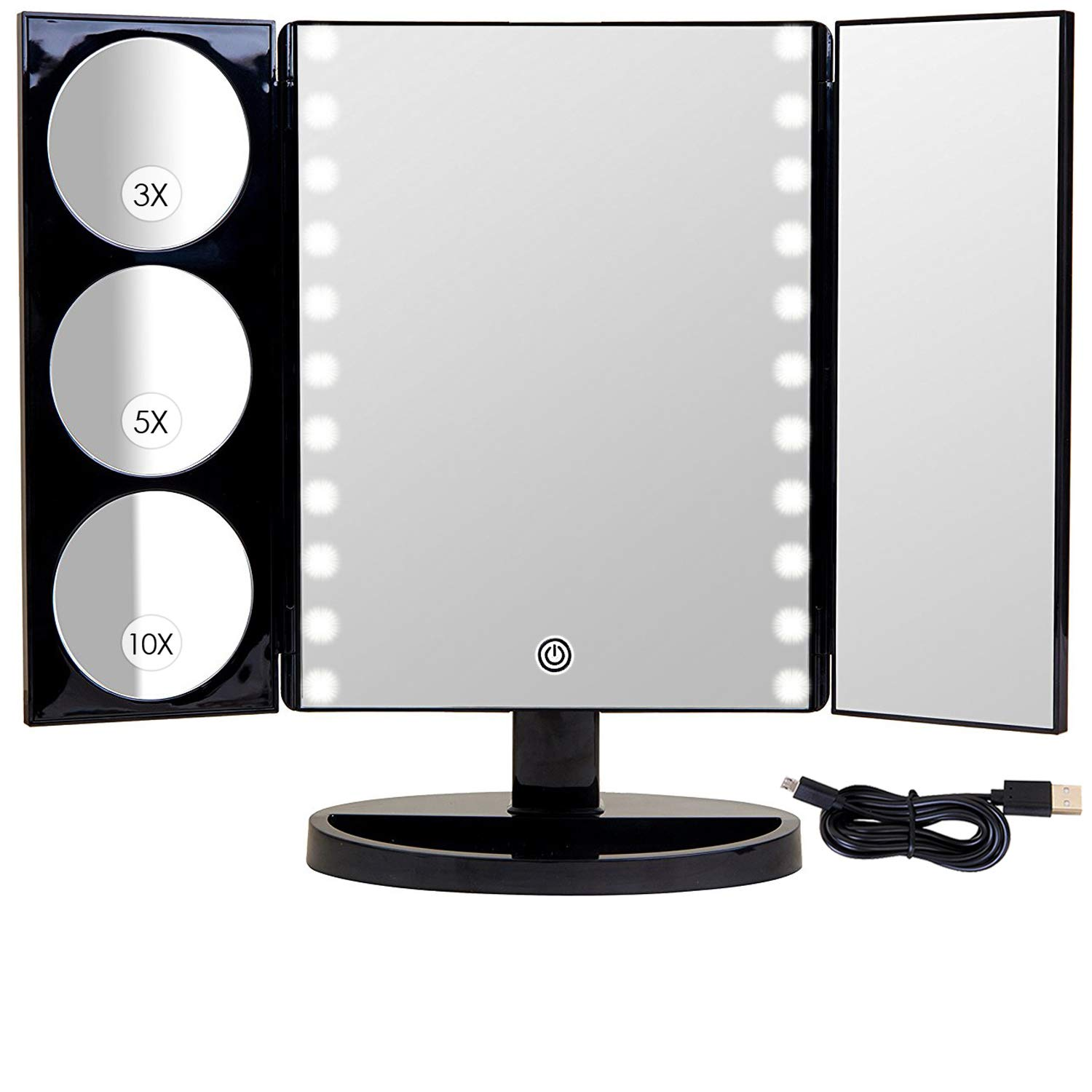 Mirrorvana X-Large LED Lighted Trifold Makeup Mirror - Battery and USB Powered - 1X, 3X, 5X & 10X Magnification by Mirrorvana
