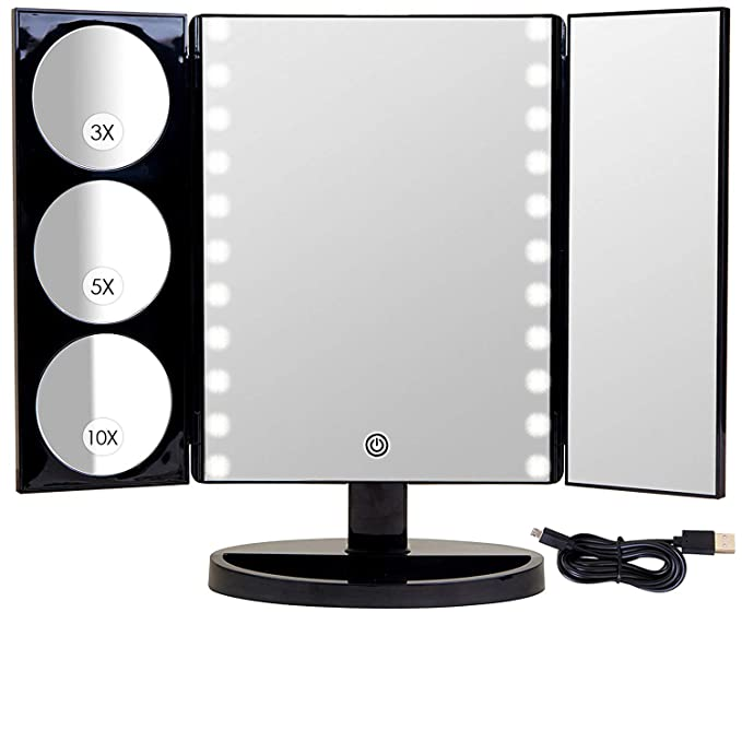 Mirrorvana X-Large LED Lighted Trifold Makeup Mirror - Battery and USB Powered - 1X, 3X, 5X & 10X Magnification