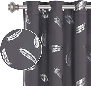 Blackout Curtains Panels for Bedroom - Feather Design Silver Foil Printed Window Panels Thermal Insulated Curtains 84 inch Length Ring Top Curtains Drapes for Living Room 2 Panels 52x84 Inch, Grey