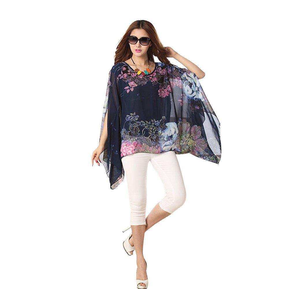 Women Chiffon Blouses Caftan Poncho Tunic Tops Batwing Sleeve Tees Loose Scarf Shirt fashionbeautybuy SSG-1000