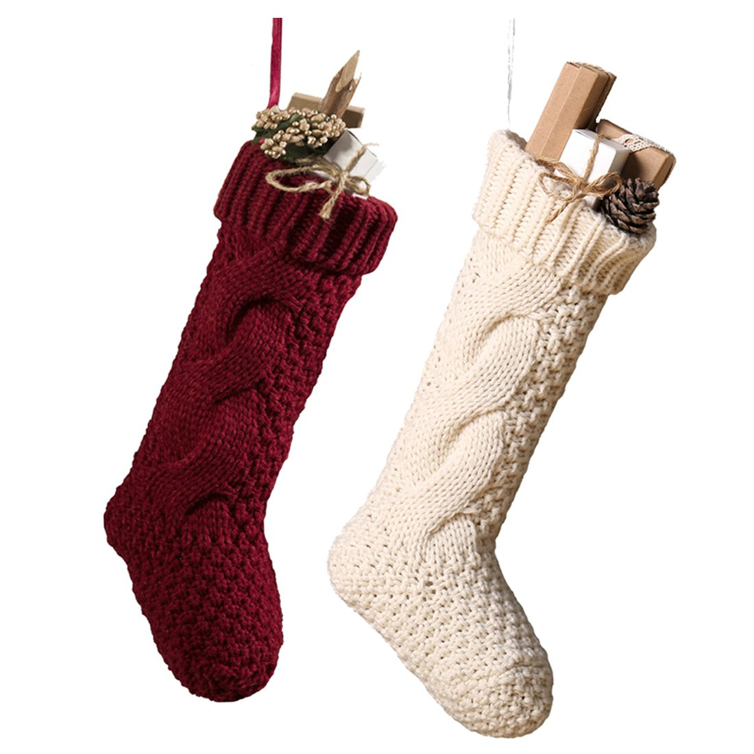 17 Inch Knitted Christmas Stockings, Pack 2 Xmas Gift Bags of Burgundy and White