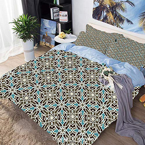 (3 Piece Set Microfiber Fabric,Arabesque Middle Eastern Inspired Moroccan Star Pattern Ornament,Queen Size,Include 1 Quilt Cover+2 Pillow case,Taupe Pale Blue Brown)