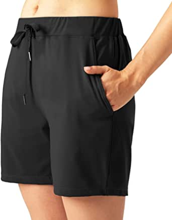 CongYee Women's Yoga Running Shorts with Side Pockets,Elastic Waist Comfy Workout Shorts Bermuda Shorts with Pockets