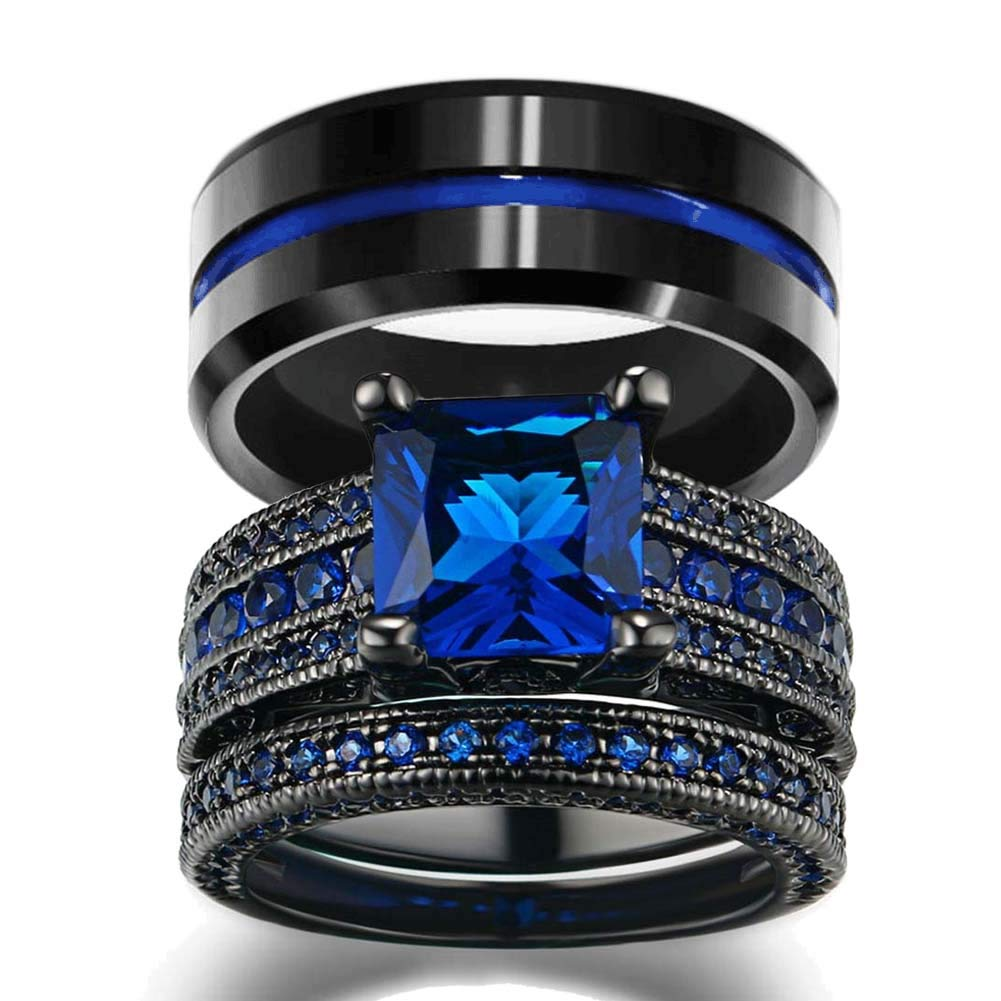 Loversring His And Hers Wedding Ring Sets Couples Rings Women 10k Black Gold Filled Blue Cz Engagement Bridal Men's Stainless Steel: Cheap Blue Wedding Rings At Reisefeber.org