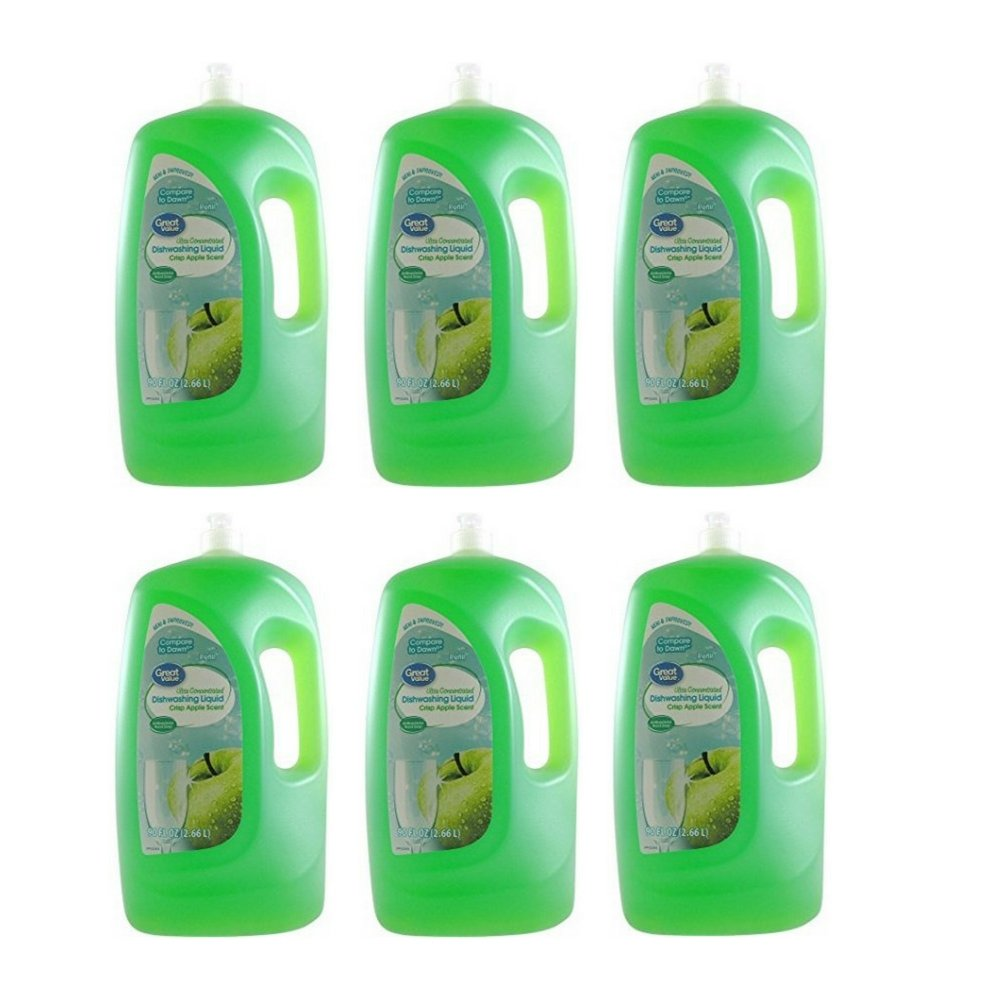 Great Value Ultra Concentrated Dishwashing Liquid, Crisp Apple Scent, 90 oz (6 pack)