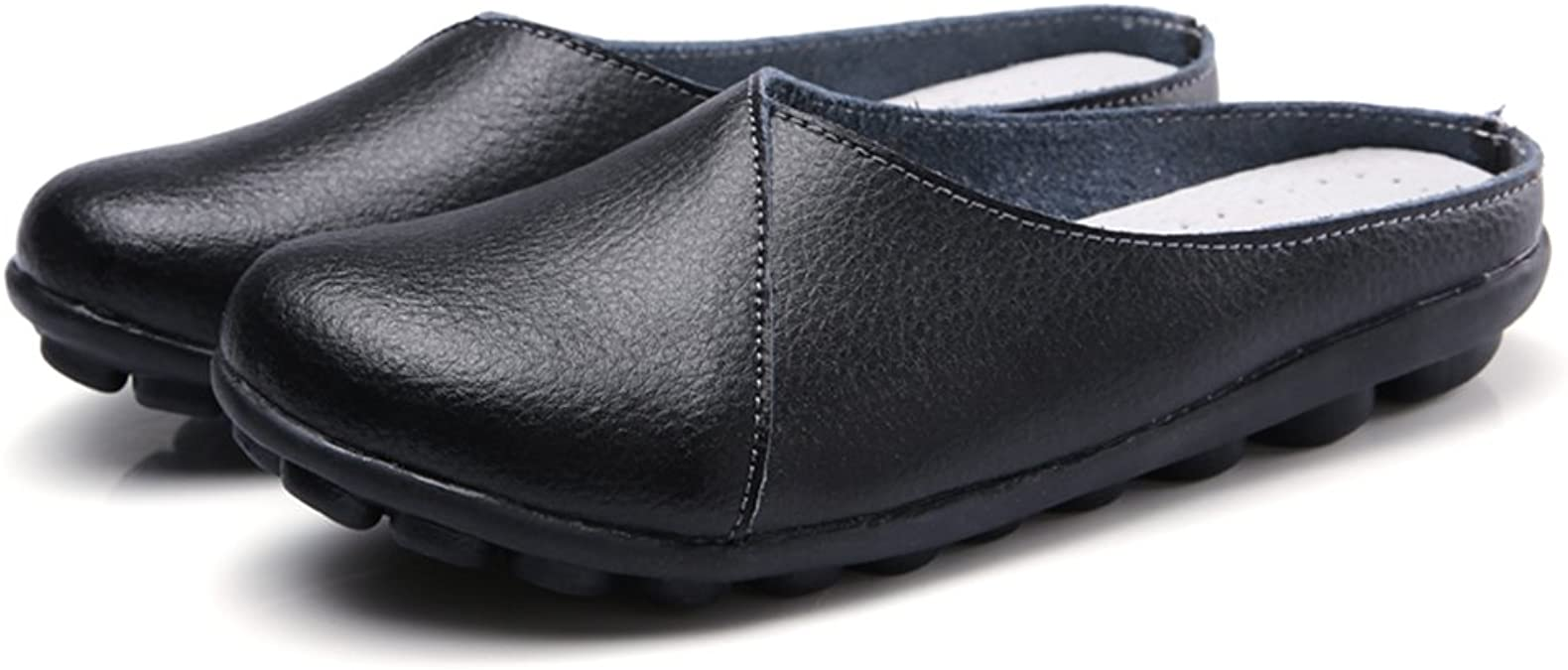 MAIERNISI JESSI Womens Fashion Genuine Leather Loafers Casual Slip-on Slippers Flat Shoes