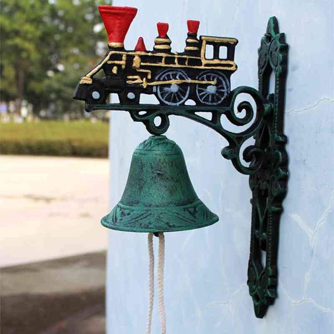 Timbre De Tren Antiguo, Campana De Hierro Fundido De Lados Retro Campanas De Campana De Mano Campanas De Campana De 20.8X11.5X30.3Cm Timbre Retro