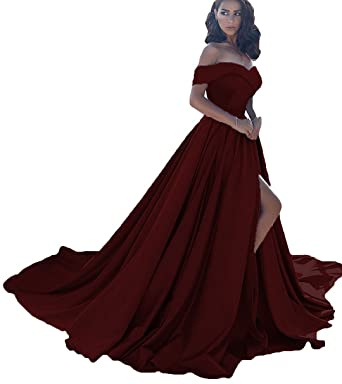 Little Star Womens Off Shoulder A Line Split Prom Evening Dresses Long Formal Gown Burgundy