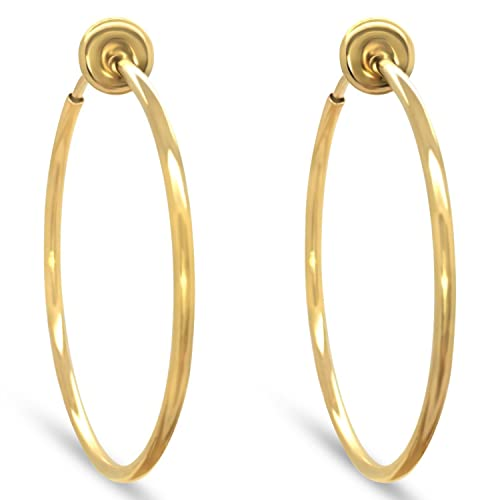 30f14c66fa91d Gold-Tone Plated Brass Spring Hoops Earrings Clip On-Small, Medium & Large  Hoops for Women, Unpierced