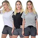 Kit 3 Camisetas Blusinhas Femininas 100% Algodão Premium New Basic