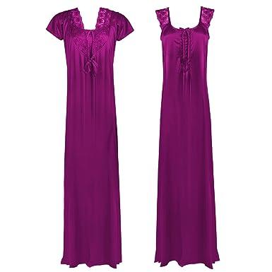 Womens Satin Nightshirts Ladies Nightie Dressing Gown Robe Chemise Twin  Set-Wine-One Size  Regular (8-14)  Amazon.co.uk  Clothing 5f2b76ada