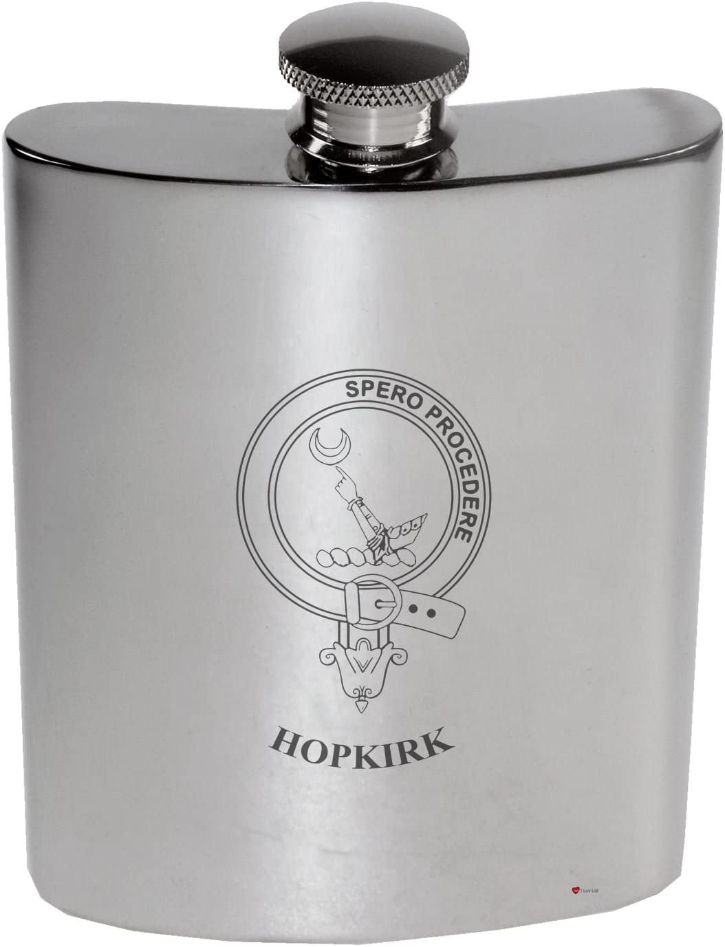 Hopkirk Family Crest 6oz Polished Pewter Kidney Flask