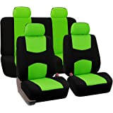 FH Group FB050GREEN114 Universal Fit Full Set Flat Cloth Fabric Car Seat Cover, Green/Black