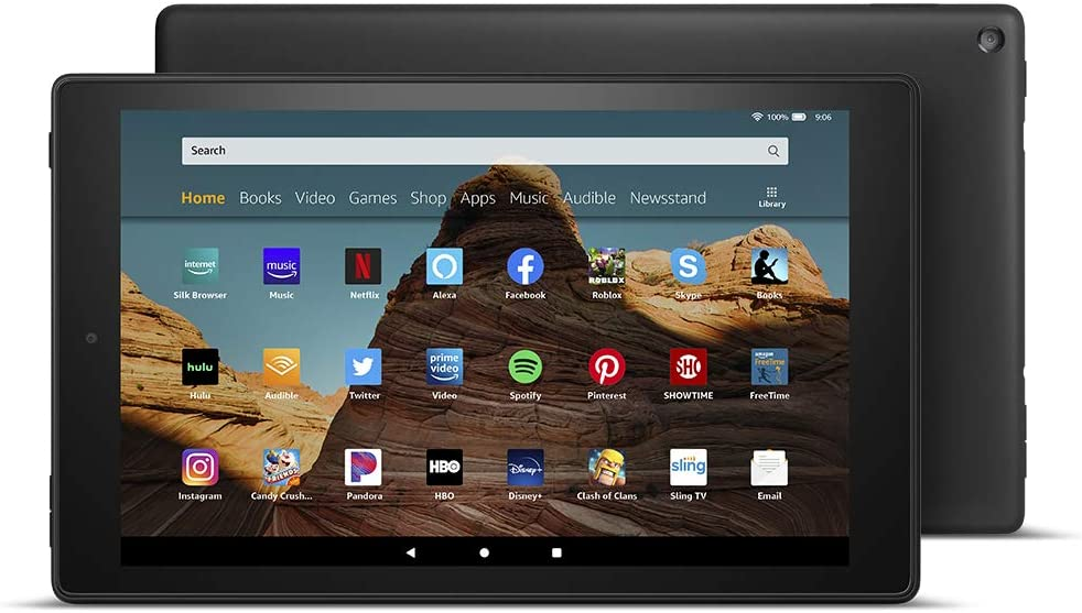 This is an image of an Amazon Fire HD 10 Tablet in black color.