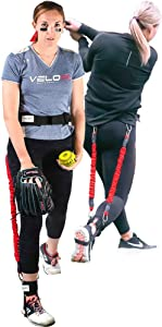 Velopro Softball Training Harness | Resistance Hitting & Pitching Trainer Adds 4-6MPH of Batting Power or Pitch Velocity | Improves Swing and Pitching Mechanics | Get Instant Feedback With Each Rep