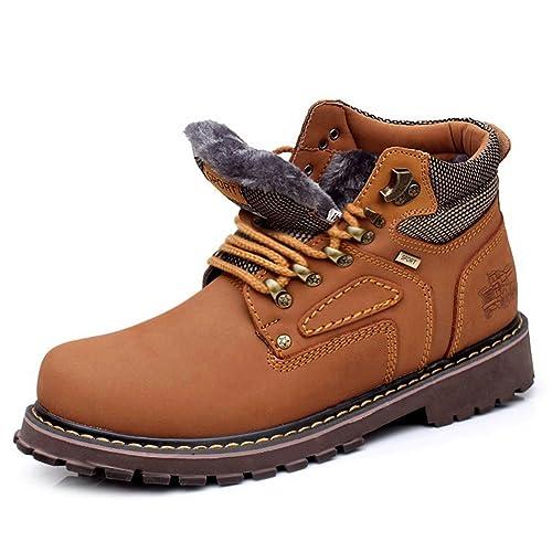 a06dd6ab7 Jamron Hombres Duradera Tobillo Alto Botas de Trabajo Botas de Seguridad  Invierno Botas de Forro Caliente Marrón 757-1 EU44  Amazon.es  Zapatos y ...