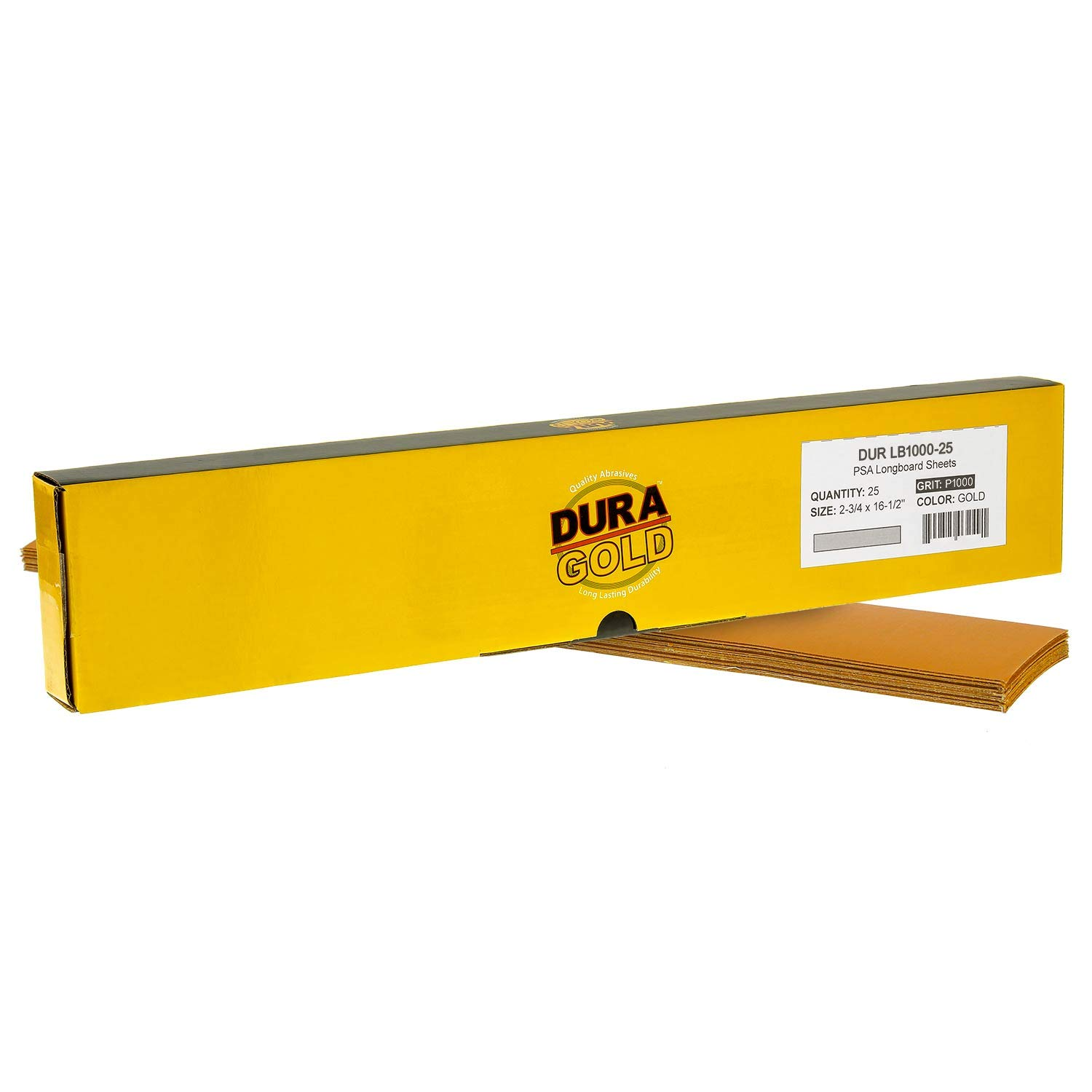 Pre-Cut Longboard Sheets 2-3//4 wide by 16-1//2 long 80 Grit Gold PSA Self Adhesive Stickyback Longboard Sandpaper Dura-Gold Premium Box of 25 Sandpaper Finishing Sheets
