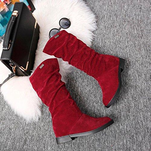 Botas Mujer,Ouneed ® Moda Mujer Chica Invierno dulce botas largas Elegante plano Flock nieve botas Rojo