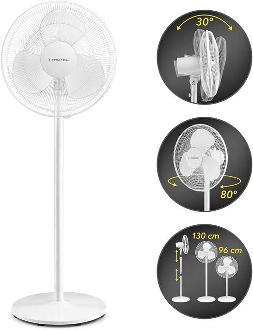 TROTEC Ventilador de pie TVE 23 S/Silencioso / 50 W/Blanco/Ajustable en Altura / 3 Velocidades de Ventilación/Oscilación Automática de 80° / Base Estable y Antideslizante: Amazon.es: Hogar