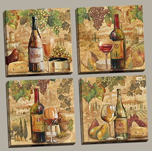 Tuscan Harvest; Rustic Italian Wine Cheese Grapes Vineyard, Four 12 by 12-Inch Canvases; Ready to hang!