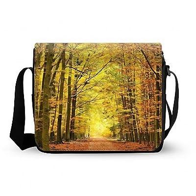 new Black Soft Lightweight Autumn Season Yellow Maple Leaves Tree Shoulder Messenger Bag