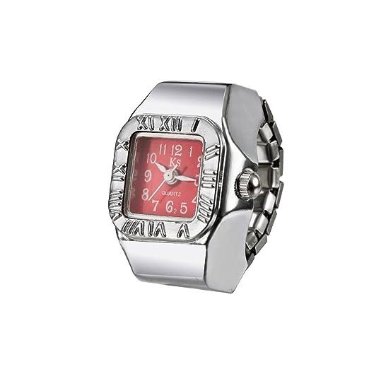 modiwen mujeres anillo de moda reloj Números Romanos bisel números arábigos tiempo marca cuarzo dedo reloj: Amazon.es: Relojes